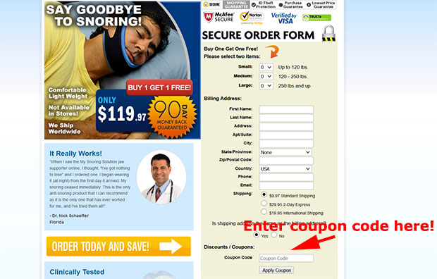 My Snoring Solution Jaw Supporter Coupon